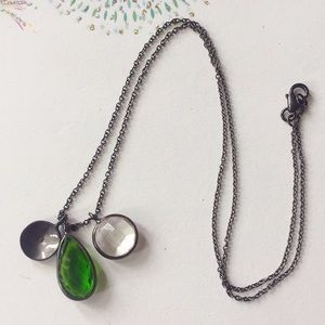 Rhodium over sterling silver crystal necklace
